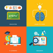 Education and e-learning icons set in flat design  — Stock Vector