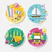 Summer travel icons set in flat design  — Stockvector