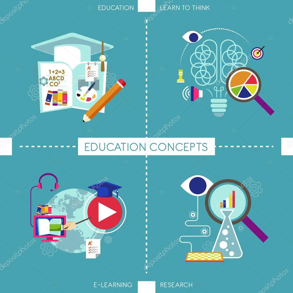 教育观念的平面设计图标