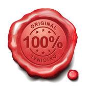 100 percent original red wax seal  — Stock Vector