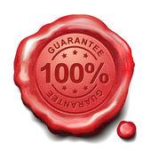 100 percent guarantee red wax seal  — Stock Vector