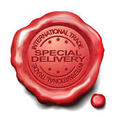 Special delivery red wax seal — Stock Vector