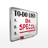 The word be special on to-do list whiteboard  — Stock Vector