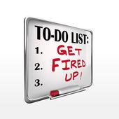 Get fired up on to-do list whiteboard  — Stock Vector