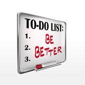 Be better on to-do list whiteboard  — Stock Vector