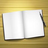 Livre ouvert avec un stylo — Vecteur
