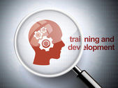 Magnifying glass with gears on head icon — Stok Vektör