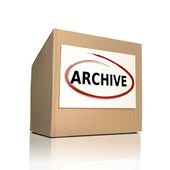 The word archive on a paper box  — Stock Vector