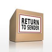 The words return to sender on a paper box — Stock Vector