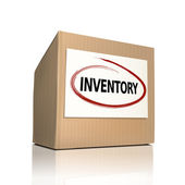 The word inventory on a paper box — Stock Vector