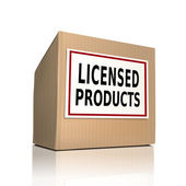 The word licensed products on a paper box — Stock Vector