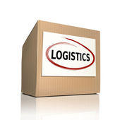 The word logistics on a paper box — Stock Vector