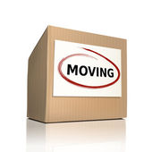 The word moving on a paper box — Stock Vector