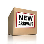 New arrivals on a paper box — Stock Vector