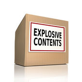 Explosive contents on a paper box  — Stock Vector