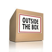 Outside the box on a paper box  — Stock Vector