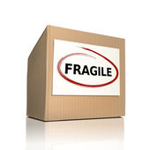 Fragile on a paper box  — Stock Vector