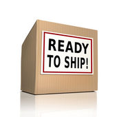 Ready to ship on a paper box — Stock Vector