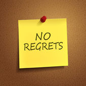 No regrets words on post-it — Stock Vector