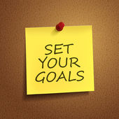 Set your goals words on post-it  — Vector de stock