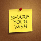 Share your wish words on post-it  — Stock Vector