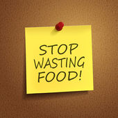 Stop wasting food words on post-it — Stock Vector