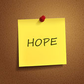 Hope word on post-it  — Vector de stock