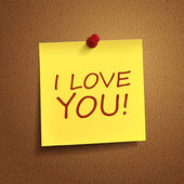 I love you words on post-it — Vetorial Stock