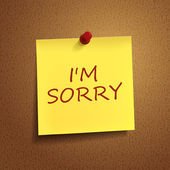 I am sorry words on post-it — Stock Vector
