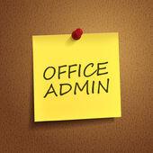 Office admin words on post-it — Stock Vector
