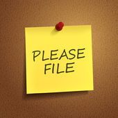 Please file words on post-it  — Stock Vector