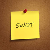 Swot word on post-it — Stock Vector