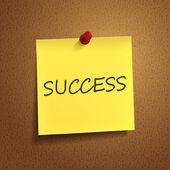 Success word on post-it — Stock Vector