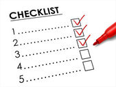 Tick placed in check box with red pen — ストックベクタ