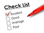 Tick placed in excellent check box with red pen  — ストックベクタ