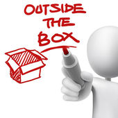 Outside the box written by a man — Stock Vector