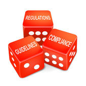 Regulations, guidelines and compliance words on three red dice — Stock Vector