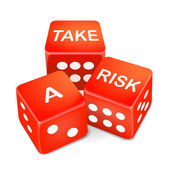 Take a risk words on three red dice — Stock Vector