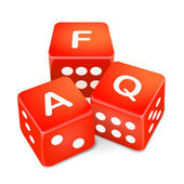 Frequently asked questions words on three red dice — Stock Vector
