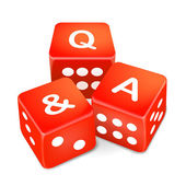 Q and A words on three red dice — Stock Vector