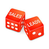 Sales leads words on two red dice  — Stock Vector