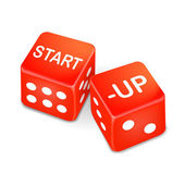 Start up words on two red dice — Stock Vector