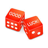 Good luck words on two red dice — Stock Vector