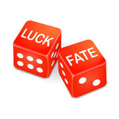 Luck and fate words on two red dice — Stock Vector