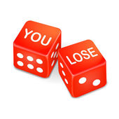 You lose words on two red dice  — Stock Vector