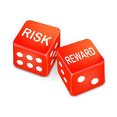 Risk and reward words on two red dice — 图库矢量图片