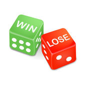 Win and lose words on two dice  — Stock Vector