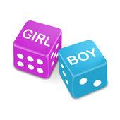 Девочка и мальчик слова на два красных кубика — Cтоковый вектор