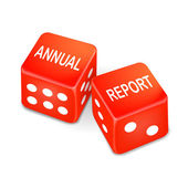 Annual report words on two red dice — Stock Vector