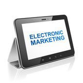 Komputer tablet z elektronicznego obrotu tekst na wyświetlaczu — Wektor stockowy
